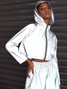 Reflective Zip Hooded Jacket