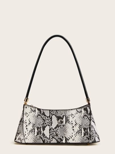 Snakeskin Print Hobo Bag