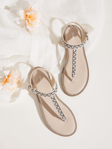Rhinestone Decor Toe Post Slingback Sandals