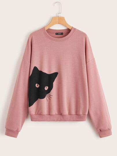Sweat-shirt avec imprimé chat