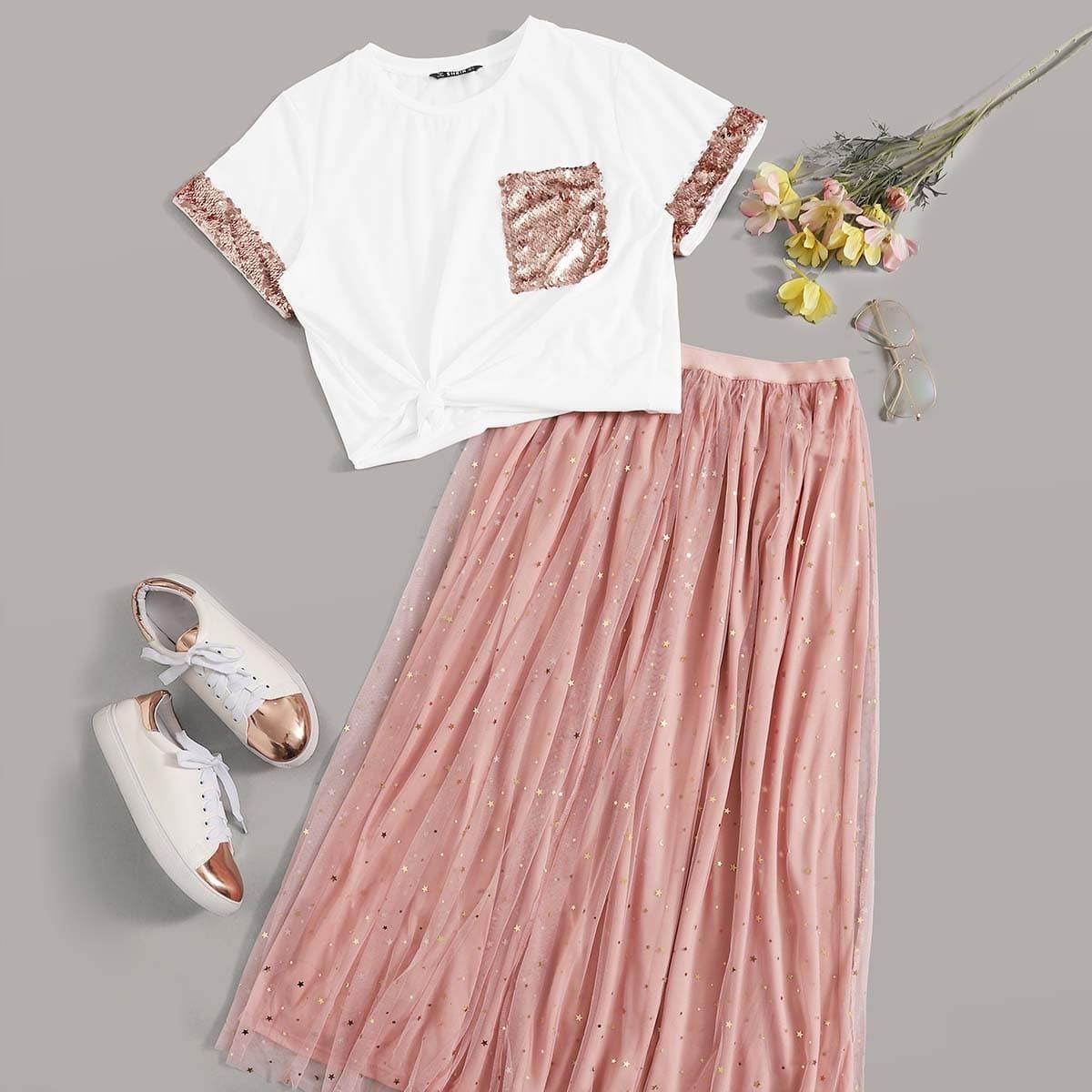Топ с контрастными блестками и сетчатая юбка