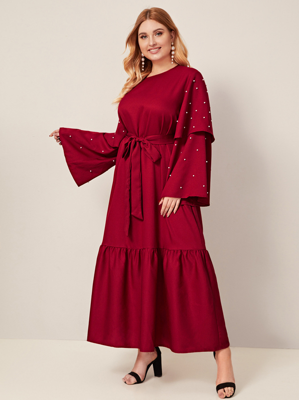 Plus Layered Bell Sleeve Pearls Beaded Belted Dress