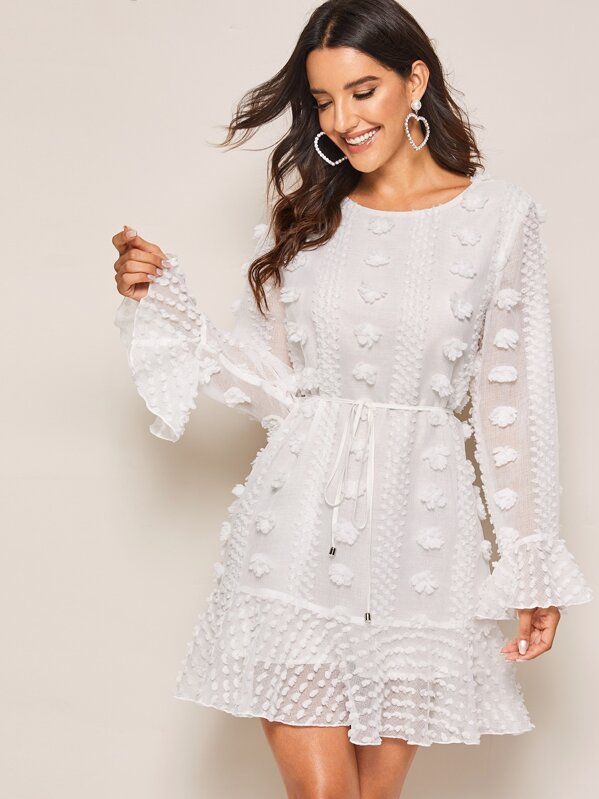 Shein Swiss Dot Flounce Sleeve Ruffle Hem Belted Dress by Sheinside