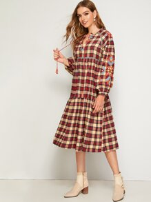 Tassel Tie Neck Plaid Embroidery Dress