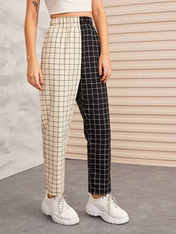 Pantalon bicolore à carreaux