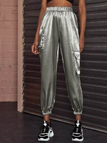 Pocket Detail Elastic Waist Satin Pants