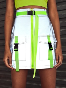 Push Buckle Dual Pocket Zip Up Cargo Skirt
