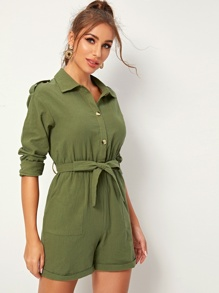 Rolled Hem Half Button Belted Shirt Romper