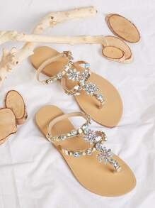 Jewelled Decor Toe Post Sandals