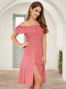 Polka Dot Button Front Ruffle Trim Bardot Dress