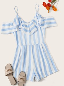 Striped Ruffle Trim Open Shoulder Romper