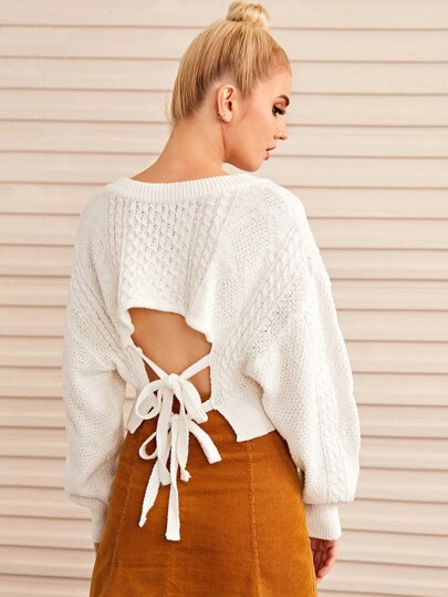 V-neck Drop Shoulder Crop Sweater
