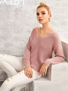 Solid Cut Out V-neck Jumper