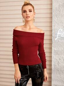 Off The Shoulder Ribbed Fitted Jumper