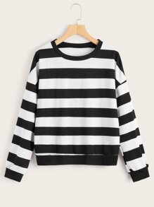 Black And White Striped Drop Shoulder Sweatshirt