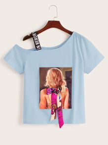 Figure Graphic Bow Front Asymmetrical Neck Tee