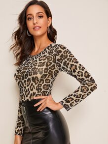 Leopard Print Fitted Top