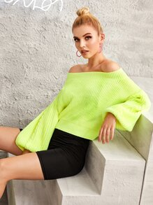 Neon Lime Off-shoulder Bishop Sleeve Jumper