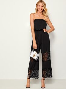 Lace Panel Solid Tube Jumpsuit