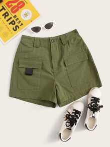Button Waist Dual Pocket Cargo Shorts