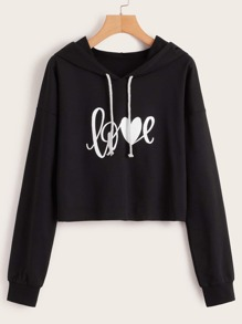 Letter Graphic Drawstring Crop Hoodie
