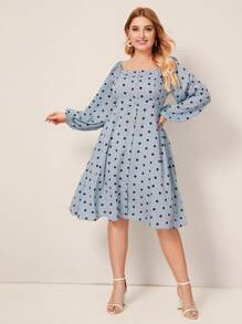 Plus Polka Dot Square Neck Dress