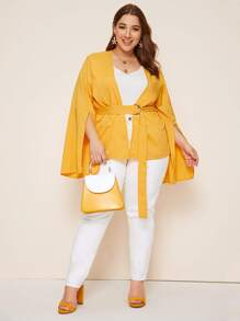 Plus Open Front Flounce Sleeve Belted Coat