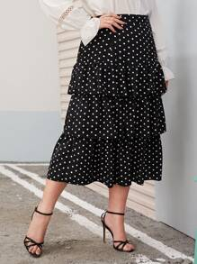 Plus Polka Dot Tiered Layer Skirt