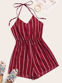 Knot Striped Wide Leg Halter Romper