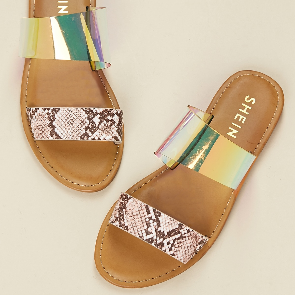 Snakeskin And Iridescent Band Open Toe Sandals, SHEIN  - buy with discount