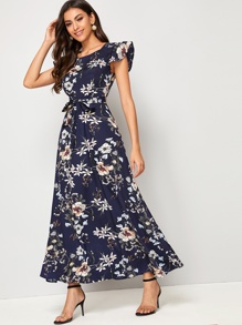 Floral Print Ruffle Sleeve Belted Maxi Dress