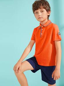 Boys Patched Detail Striped Collar Polo Shirt