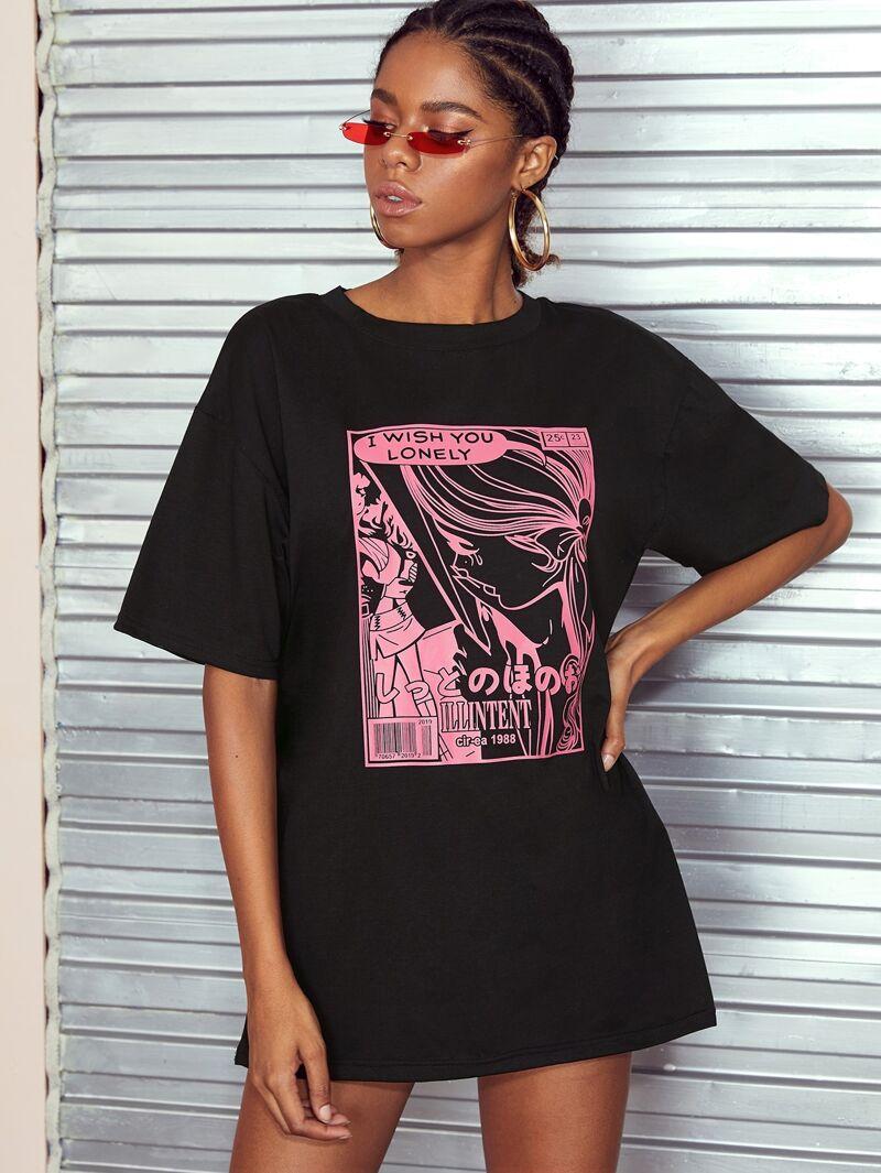 9a2f2b5fe T-shirt avec imprimé lettres et figure