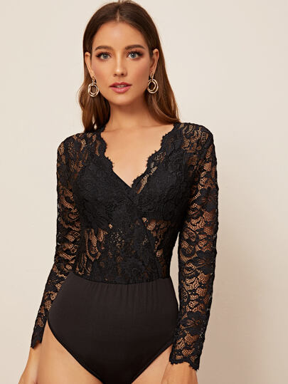 Lace V-neck Sheer Bodysuit