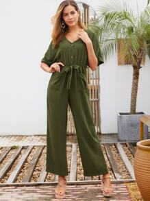 Rolled Cuff Double Pocket Knot Jumpsuit