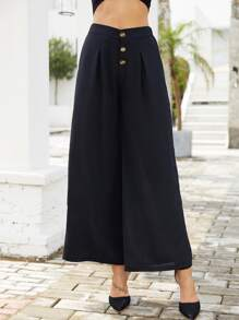 Button Up Solid Wide Leg Pants