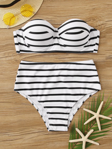 Striped Underwire Top With High Waist Bikini Set