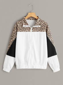 Color Block Leopard Contrast Jacket