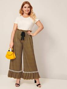 Plus Houndstooth Ruffle Hem Wide Leg Pants