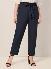 Plus Tie Waist Solid Pants