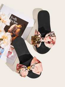 Floral Print Bow Decor Sliders