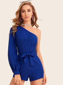 One Shoulder Solid Belted Romper