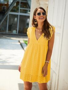 V-Neck Cap Sleeve Eyelet Embroidered Smock Dress