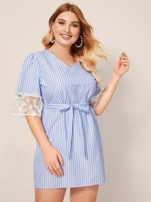 Plus Contrast Lace Sleeve Stripe Belted Dress