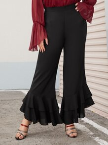 Plus Layered Ruffle Hem Flare Leg Pants
