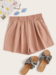 Solid Elastic Waist Wide Leg Shorts