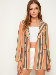 Multi-Stripe Double Breasted Notched Neck Blazer