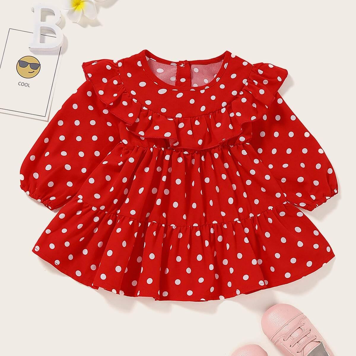Платье в горошек с оборкой для девочек от SHEIN