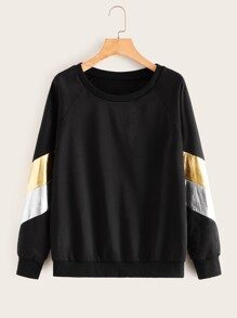 Contrast Reflective Striped Sweatshirt