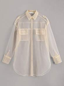 Organza Pocket Front Sheer Blouse